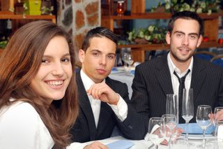 Business-lunch-woman-two-men